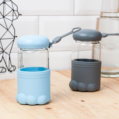 快樂貓玻璃水瓶300ml-藍