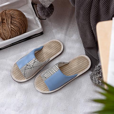 初光葉語紙蓆拖鞋-藍L