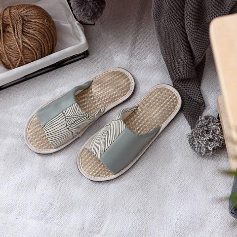 初光葉語紙蓆拖鞋-綠L