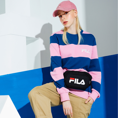 FILA 粗條紋圓領T恤-粉紅 1TEU-5450-PK