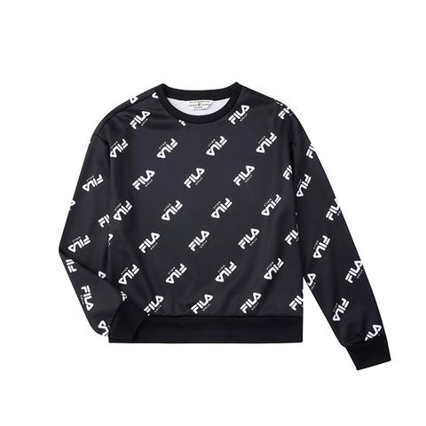 FILA 女滿版LOGO圓領T恤-黑色 5TEU-5491-BK