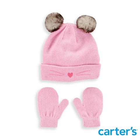 Carter's 台灣總代理 - 貓咪造型毛帽2件組-(附手套)