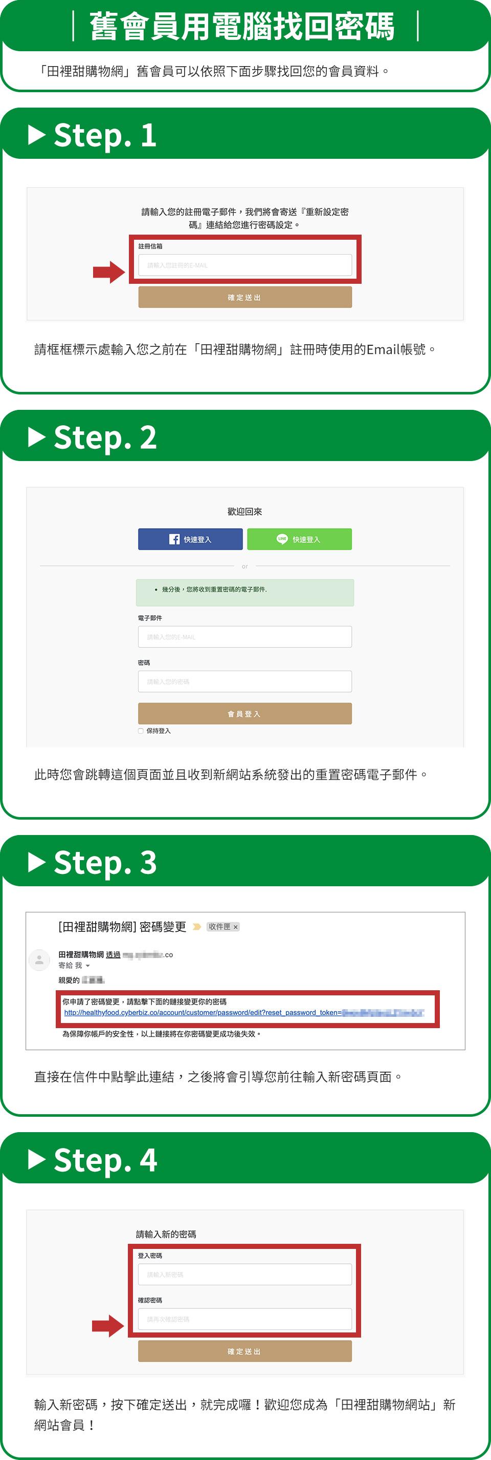 「田裡甜購物網站」電腦版本舊會員找回密碼說明